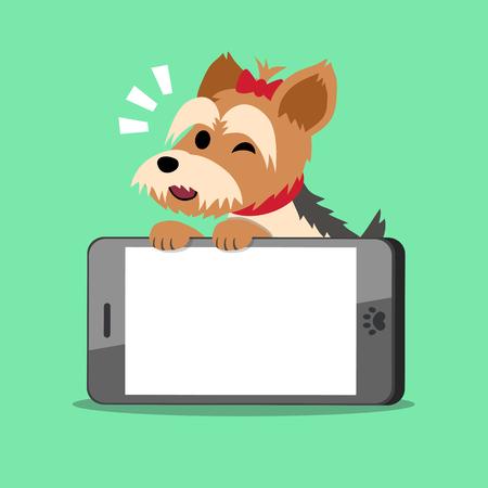 big screen: Cartoon character yorkshire terrier dog and big smartphone Illustration