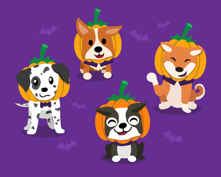 Vector cartoon happy halloween cute dogs