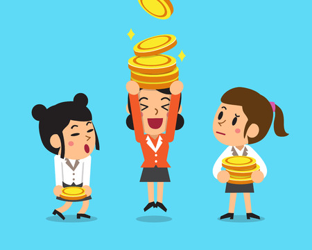 Cartoon businesswomen with money coins.