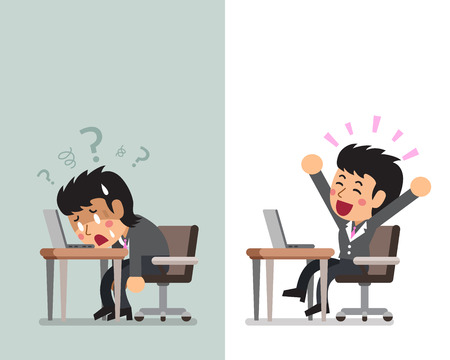 Vector cartoon businesswoman expressing different emotions
