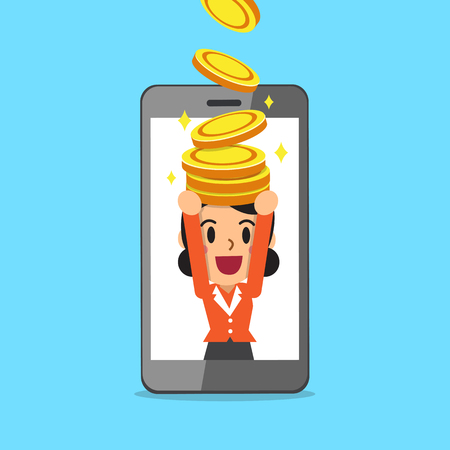 smartphone: Cartoon businesswoman and smartphone earning money