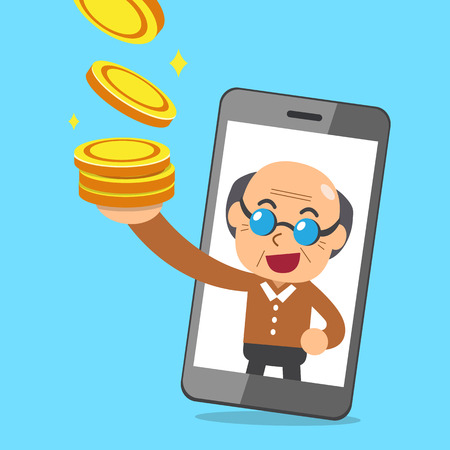 mobile communication: Vector cartoon senior man and smartphone earning money