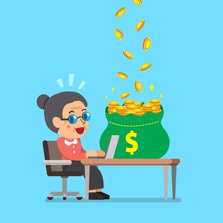 Cartoon senior woman earning money
