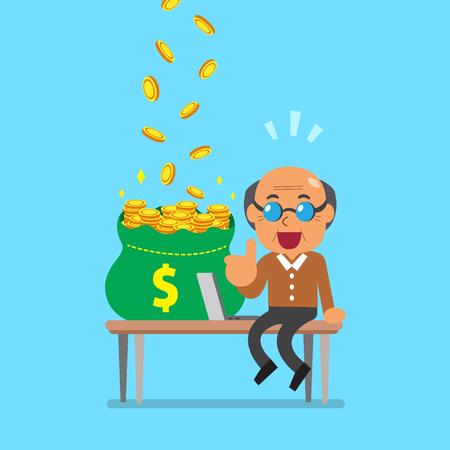 old pc: Vector cartoon senior man earning money Illustration