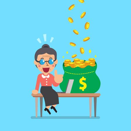 old pc: Vector cartoon senior woman earning money Illustration