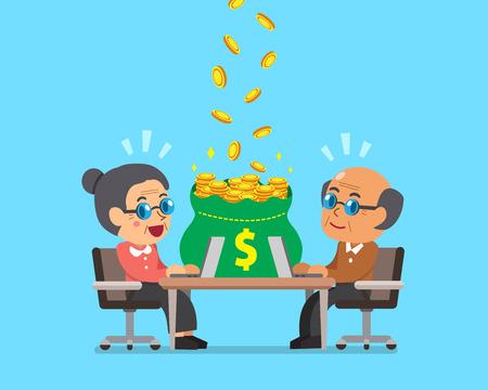 Cartoon senior people earning money