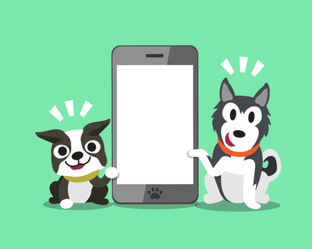 cellphone icon: Cartoon character Boston terrier dog and Siberian husky dog with smartphone. Illustration