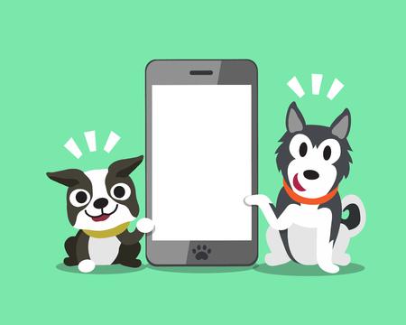 Cartoon character Boston terrier dog and Siberian husky dog with smartphone. Illustration
