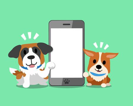cellphone icon: Cartoon character corgi dog and saint Bernard dog with smartphone. Illustration