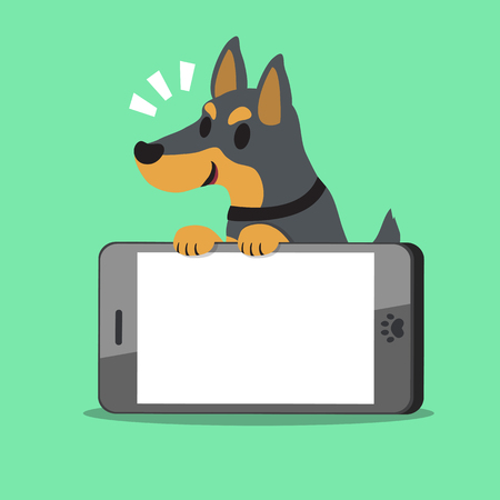cellphone icon: Cartoon character doberman dog and big smartphone on green background.