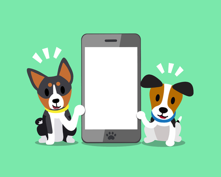 Cartoon character jack russell terrier dog and basenji dog with smartphone. Illustration