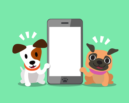 cellphone icon: Cartoon character jack russell terrier dog and pug dog with smartphone.