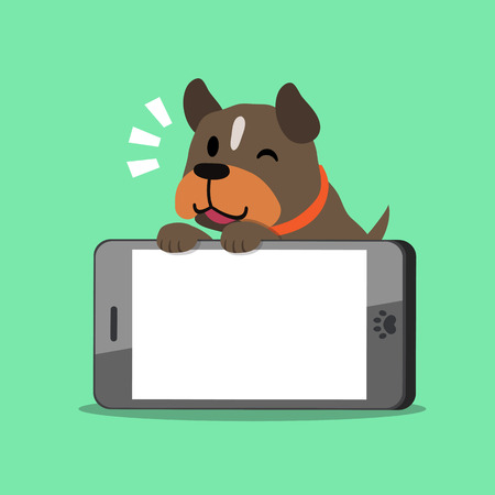cellphone icon: Cartoon character pit bull terrier dog and big smartphone on green background.