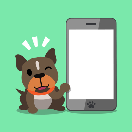 cellphone icon: Cartoon character pitbull terrier dog and smartphone on green background.