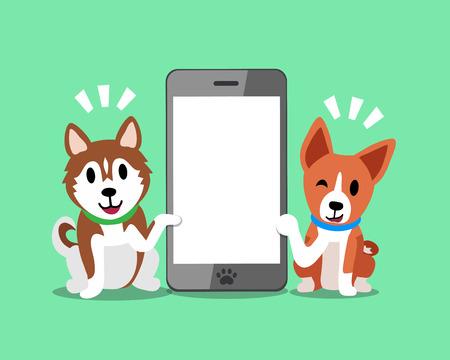 cellphone icon: Cartoon character Siberian husky dog and Basenji dog with smartphone.