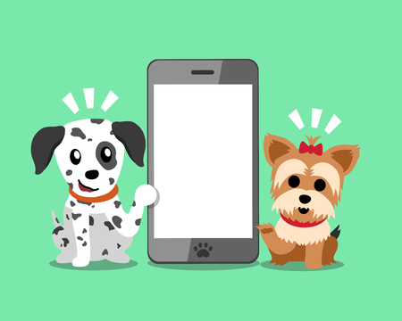 cellphone icon: Cartoon character Yorkshire terrier dog and dalmatian dog with smartphone.