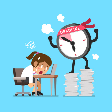 appointments: Cartoon deadline clock character and businesswoman
