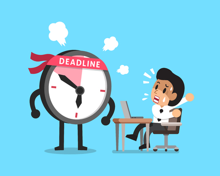 appointments: Vector cartoon deadline clock character and businessman