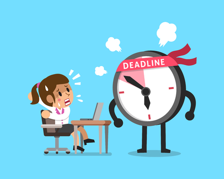appointments: Vector cartoon deadline clock character and businesswoman