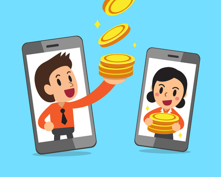 Cartoon business people and smartphones earning money