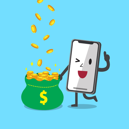 Cartoon smartphone character earning money
