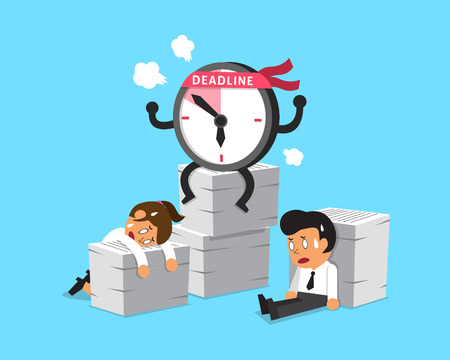 appointments: Cartoon deadline clock character and business people