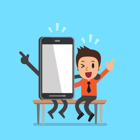 big screen: Vector cartoon businessman and smartphone character