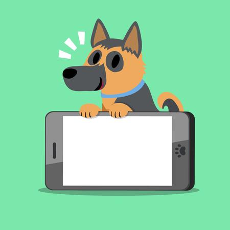 big screen: Cartoon character german shepherd dog and smartphone