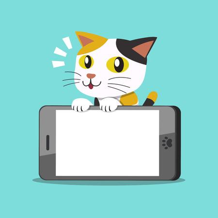 Vector cartoon character cute cat and big smartphone