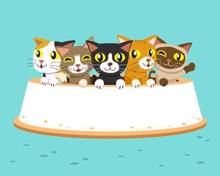 Cartoon cats with large feeding bowl 일러스트