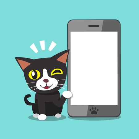 Cartoon character cat and big smartphone