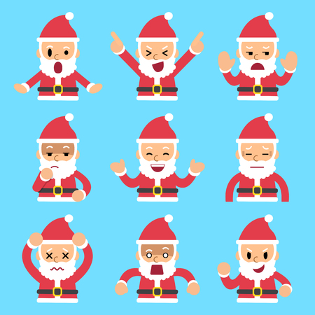 Cartoon set of santa claus faces showing different emotions Vectores
