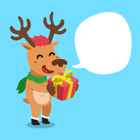 Reindeer with speech bubble icon. Illustration
