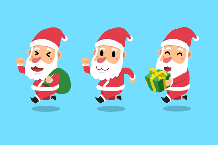 Set of cartoon Santa Claus icon. Illustration