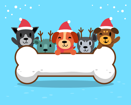 Merry Christmas cute dogs with big bone
