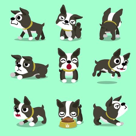 Cartoon karakter Boston Terriër hond vormt