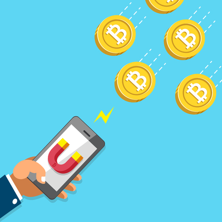 Cryptocurrency concept hand using smartphone with magnet icon to attracts money coins Çizim