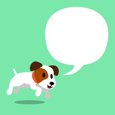 Cartoon character a jack russell terrier dog and white speech bubble.