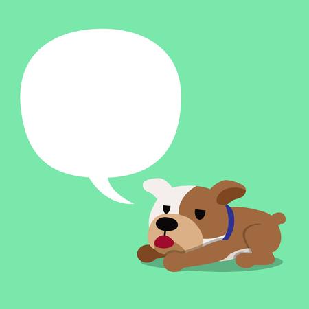 Cartoon character bulldog and speech bubble.