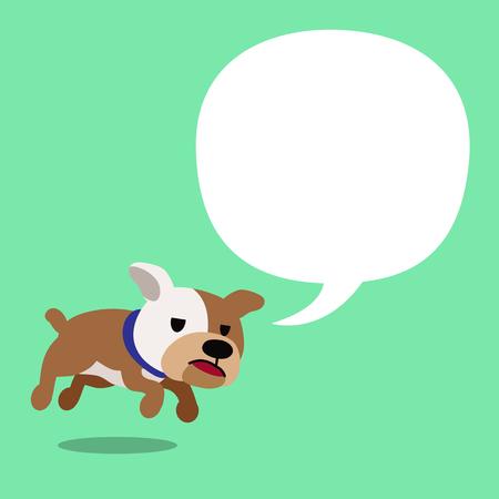 Cartoon character bulldog and white speech bubble.