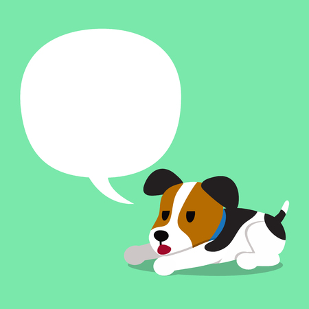 Cartoon character jack russell terrier dog and a white speech bubble