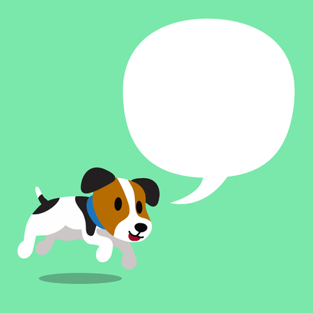 Cartoon character jack russell terrier dog and white speech bubble