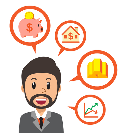 Business concept cartoon businessman talking about different investing options
