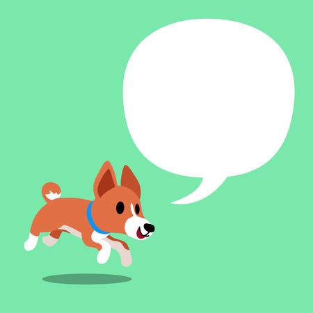Cartoon character basenji dog and a white speech bubble Illustration