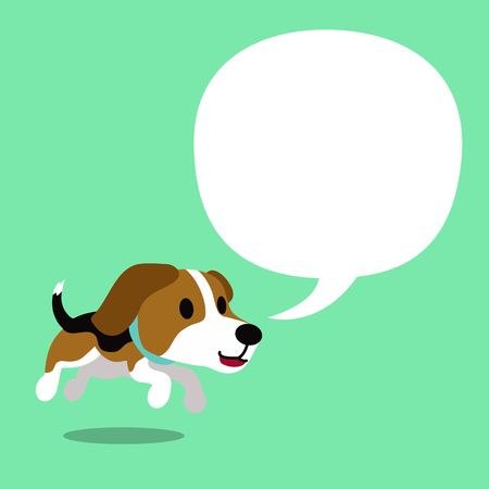 Cartoon character beagle dog and a white speech bubble