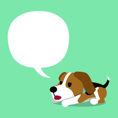 Cartoon character beagle dog and white speech bubble Illustration