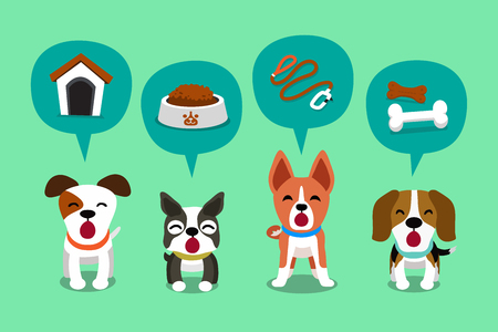 Cartoon character cute dogs and speech bubbles with accessories 矢量图像
