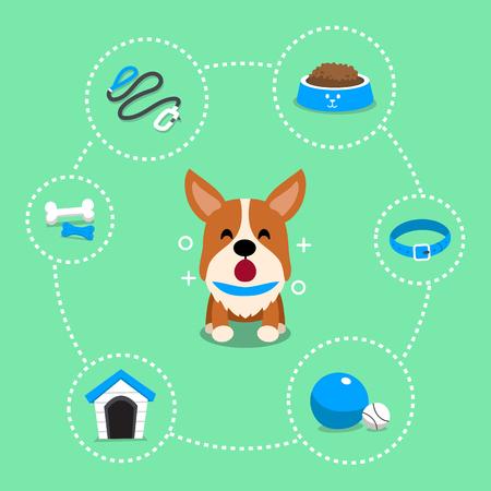 Vector cartoon character corgi dog and accessories Vettoriali
