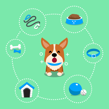 Vector cartoon character corgi dog and accessories Illustration
