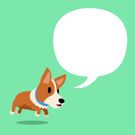 Cartoon character corgi dog and a white speech bubble